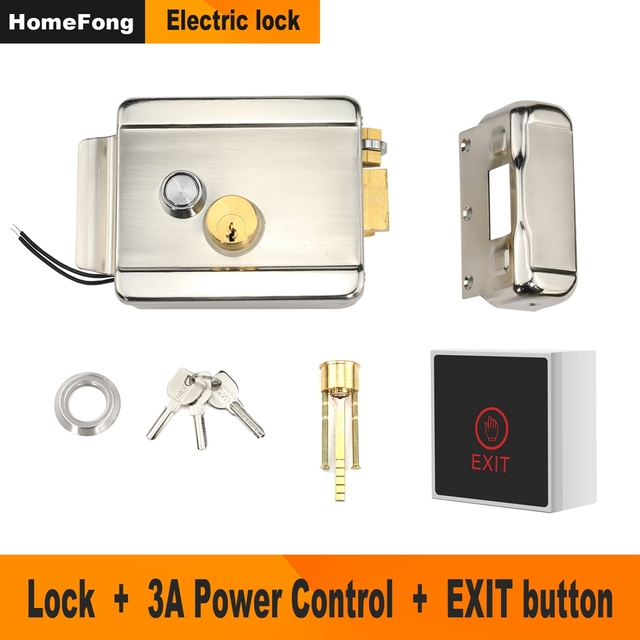 Metal Electric Lock for Home Intercom Video Door Phone Door Access Control System Kit with 3A Power Supply Control
