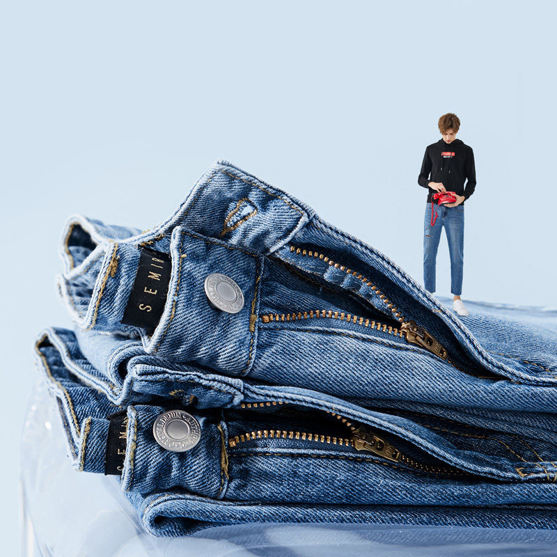 SEMIR Men 100% Cotton Cropped Jeans with Destruction Man Skinny Jeans Washed Denim with Raw-edge Hem Streetwear for Spring