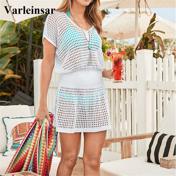 2020 5 colors Crochet Knitted Beach Cover up dress Tunic Long Pareos Bikinis Cover ups Swim Cover up Robe Plage Beachwear V2053