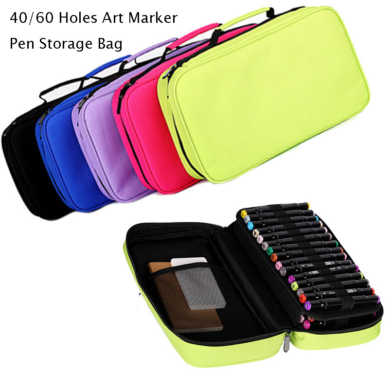 40/60 Holes Art Marker Pen Storage Bag Large Removable Pencil Case Professional Pen Bag Box Stationery Pouch
