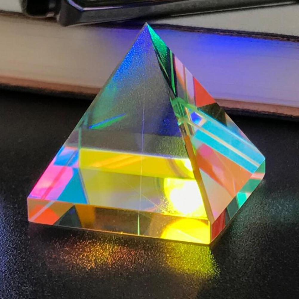 Prisma de cristal piramidal lente óptica dispersión Prisma Multicolor escritorio ornamento educación Enseñanza luz espectro Prisma H & D 30mm ventana de vidrio colgante atrapasoles ornamento máquina de arcoíris bola de cristal prismas colgante hogar jardín decoración coche encanto regalo