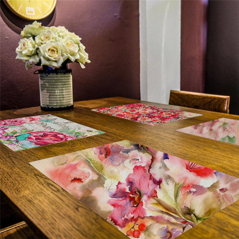 Flower Printing Dinner Table Placemat