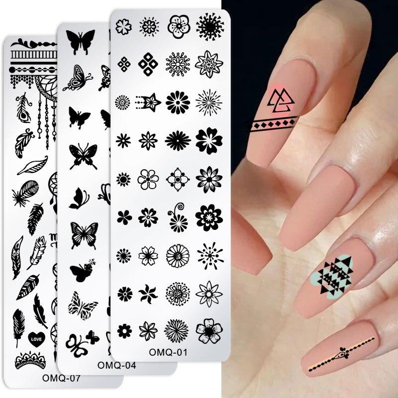 Christmas HD Nail Art Printing Template Marble Pattern Flower Snowflake Nail Art Printing Steel Plate Mould 4x12cm Nail Stamp