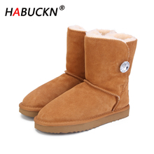 цена на HABUCKN new Women winter Masonry buckle Boots Warm Genuine leather suede winter snow boots for women Boots large size black 44
