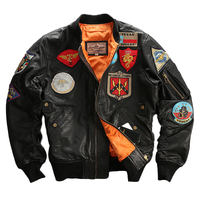 Seveyfan Mens Real Leather Bomber Jacket Embroidery Patched Motorcycle Biker Genuine Leather Jacket for Male Plus Size 6XL R2947