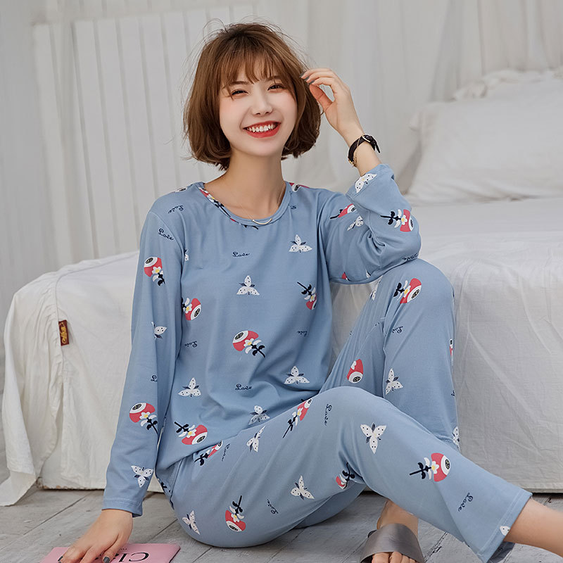 Sweet Women's Cute Pajamas Women's Spring And Autumn Long Sleeve Trousers Thick-150G Butterfly Blue Home Wear Large Size Case