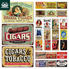 Charutos vintage estanho sinal de tabaco metal sinal decoração da parede para charuto loja placa de metal
