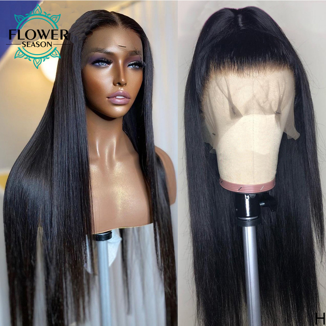 Preplucked 13x4 Silky Straight Lace Front Human Hair Wigs With Baby Hair Remy Peruvian Human Hair wig for women 130 FlowerSeason