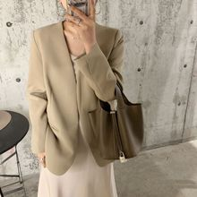 Women Spring 2019 New Simple Neckless Small Suit Jacket with Open Sleeves and Buttonless V-Neck Jackets