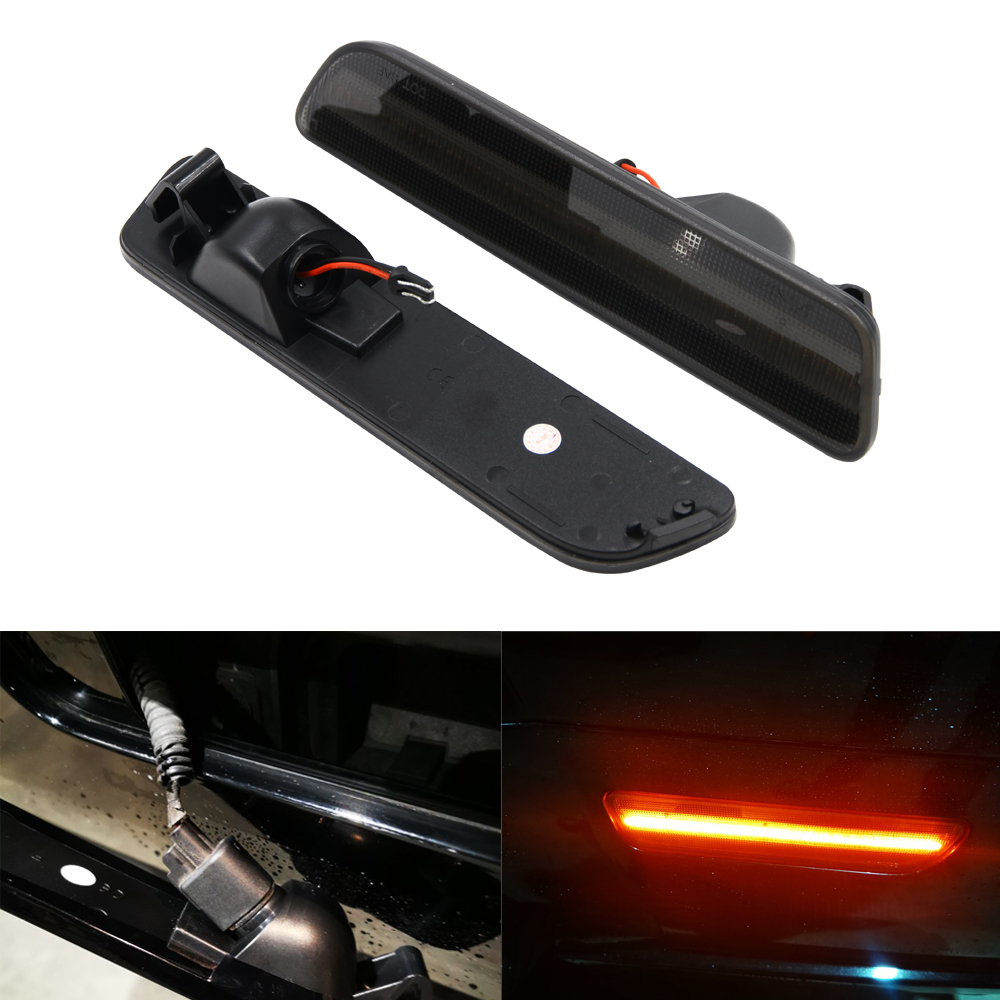 2 pieces <font><b>Led</b></font> Side Marker Lamp Rear Red For Ford Mustang 2005 2006 2007 2008 2009 Smoked Lens image