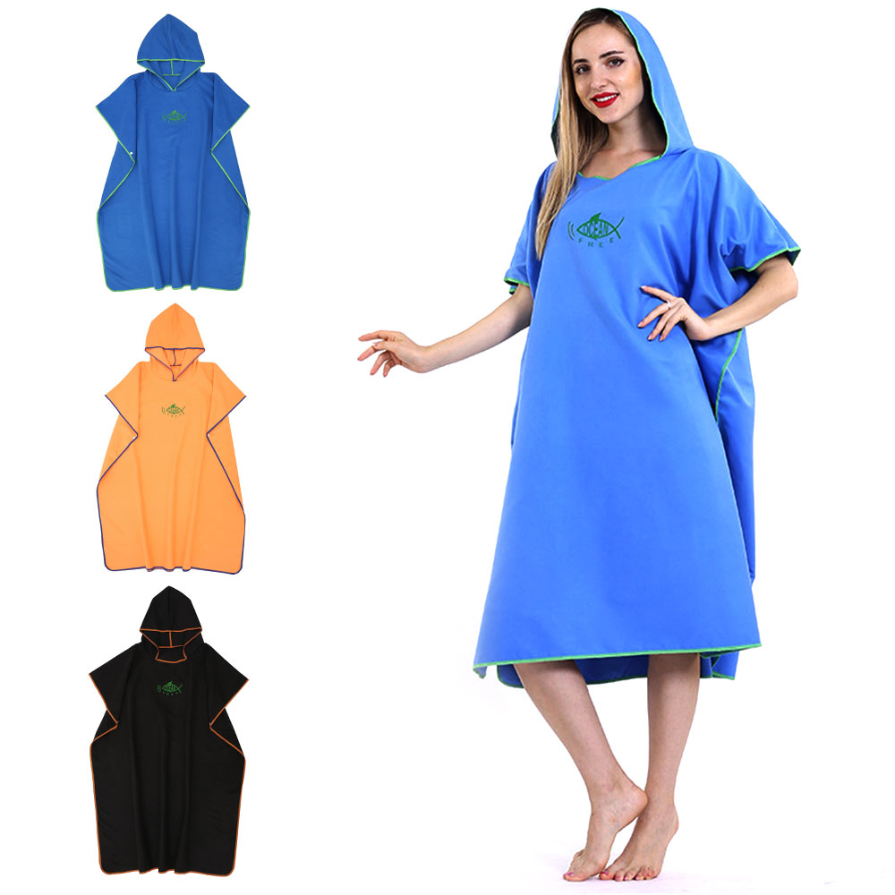 Microfiber Quick Dry Wetsuit Diving Suit Changing Robe Poncho Towel with Hood Quick-drying Absorbent Sweat-absorbent Swim Robe