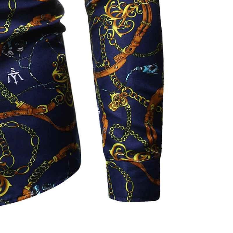 Mens Luxury Design Print Dress Shirts 2019 Autumn New Slim Fit Long Sleeve Shirt Men Baroque Palace Style Social Shirt Male 3XL