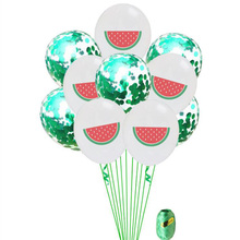 AVEBIEN Hot Sale Hawaiian Party sequin Latex Balloon set Flamingo Turtle Back Leaf Green Plant Birthday Decoration