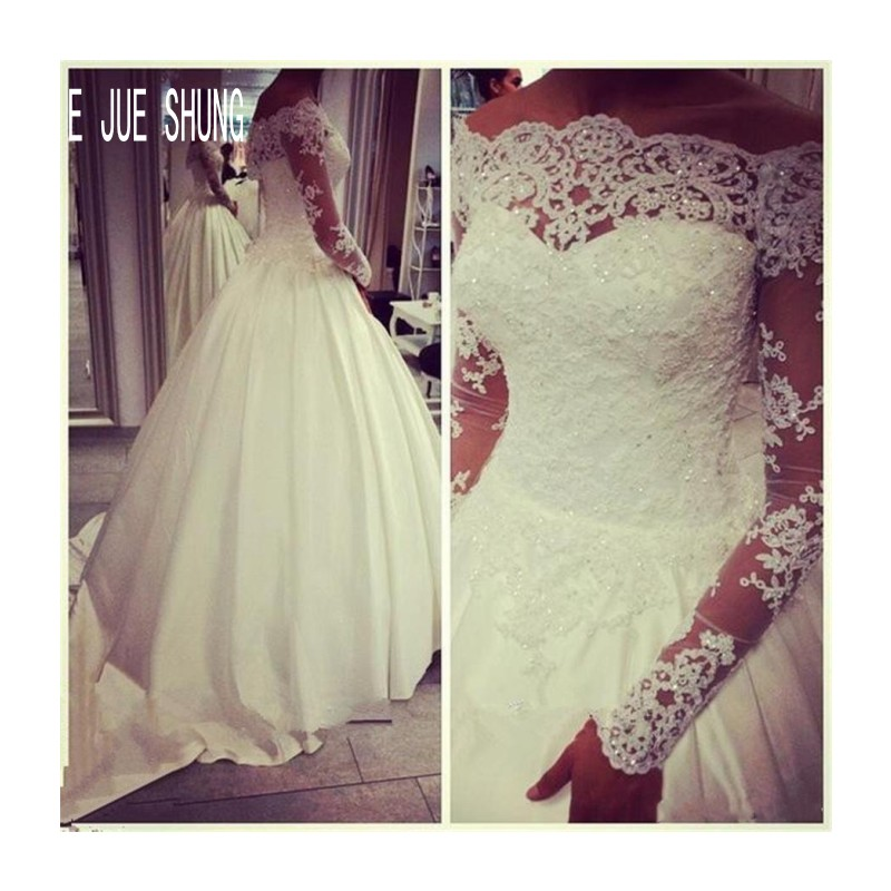 E JUE SHUNG White Beading Lace Ball Gown Wedding Dresses Off Shoulder Long Sleeves Lace Up Back Bridal Gowns Vestido De Noiva