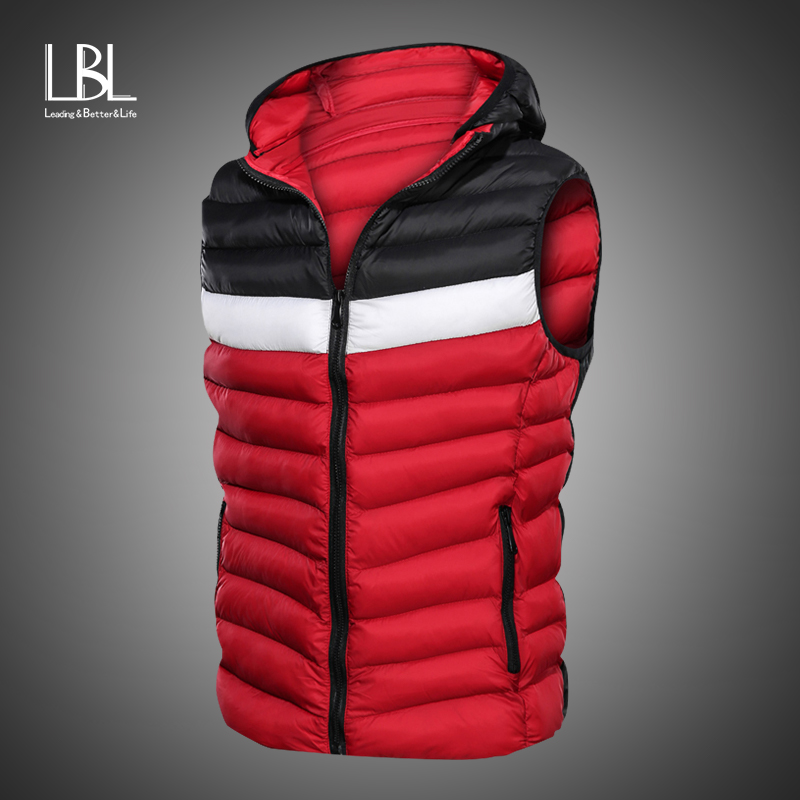 New Spring Autumn Sleeveless Jacket For Men Fashion Warm Cotton Padded Hooded Parkas Male Winter Vest Mens Work Vests Waistcoat