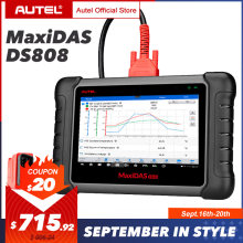 Autel MaxiDAS DS808 OBD2 Scanner Car Diagnostic Tool OBDII OE-level Bi-directional Control key programmer Code Reader PK MK808(China)
