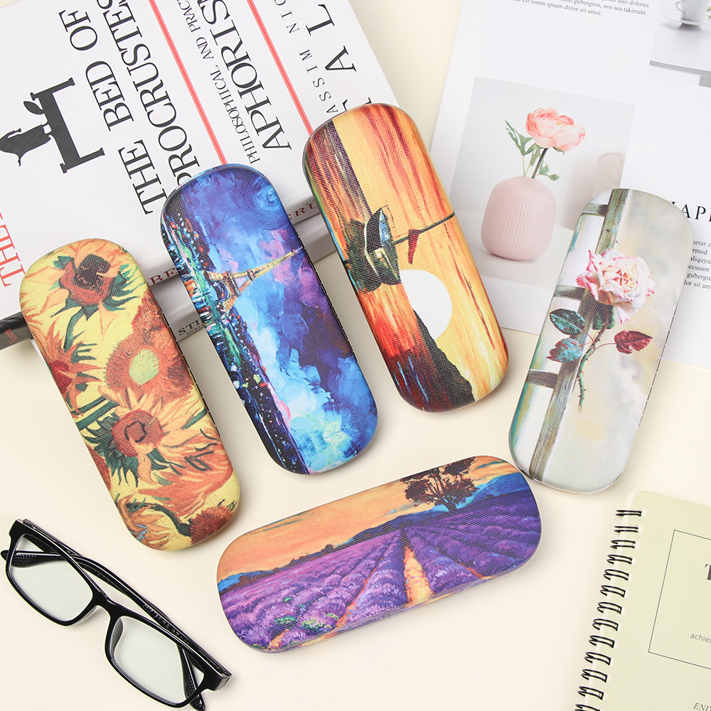 1PC Fashion Oil Painting Style Glasses Case Vintage Hard Leather Reading Glasses Box Portable Floral Print Eyewear Accessories
