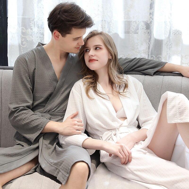 Unisex Couple Cotton Bathrobes Autumn Solid Full Waffle For Women Men Bath Lingerie Bathrobe Robes Nightgown Homewear