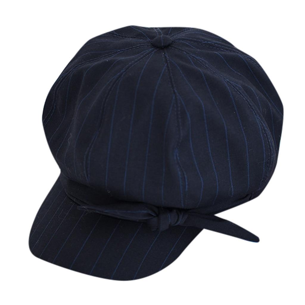 SAGACE Winter Autumn Women Grils Beret British Stripe Retro Octagonal Hat Casual Striped Cap Bow Decoration Sweet And Elegant