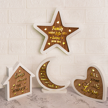 LED White Frame Wooden House/Moon/Heart  Night Light Creative Hanging Wall Door Bedroom Bedside Lamps Dropshiping