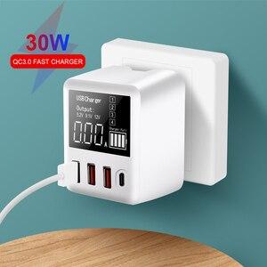 Image 1 - 30W téléphones chargeur rapide QC 3.0 Micro USB Type C adaptateur secteur affichage LED 3 Ports USB + 1 Port type c pour iPhone Android adaptateur