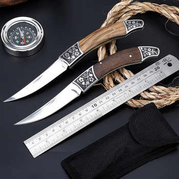 56HRC Folding Knife Pipe Cutter Pocket Knifes Wood Handle Knife 3CR13 steel Blades Outdoor Camping Hunting Knives Self-defense