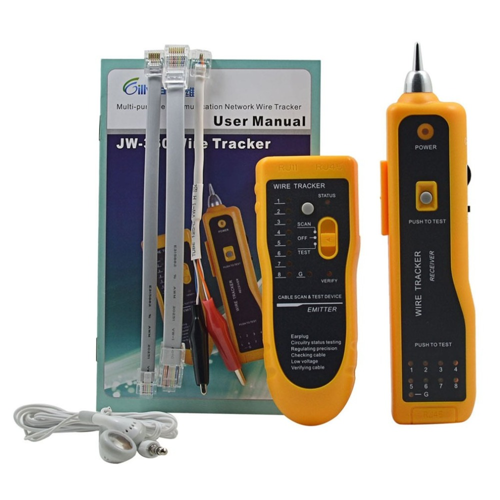 JW-360 LAN Network Cable Tester Telephone Wire Tracker Diagnose Tone Tool Kit RJ45 RJ11 Line Finding Sequence Testing