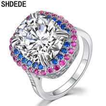 SHDEDE Cubic Zirconia Cocktail Rings For Women Wedding Fashion Party Jewelry Anniversary Gift 18KRGP +LYDZR004 shdede white 7