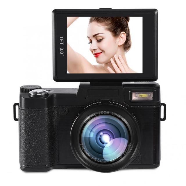 24MP 풀 HD 1080P 4 배 디지털 줌 카메라 180 학위 회전 스크린 카메라 비디오 Vlog 카메라 캠코더