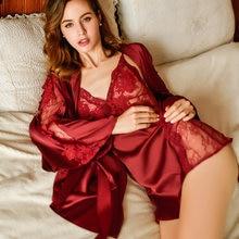 Пикантная кружевная пижама из двух предметов шелковые ночные