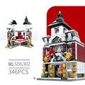 Livraison gratuite style européen architecture blocs Mini rue construction briques 4 ensemble paquet épissure jouets éducatifs cadeau