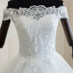Image 2 - Mrs Win 2020 Luxury Lace Embroidery Wedding Dresses Off The Shoulder 100cm Long Train Sweetheart Vestido De Noiva