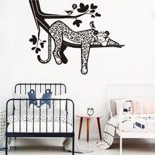 Cartoon Sleepy Lazy Leopard Wall Decal Safari Tree  Forest Jungle Hanging Animal Branch Bird Vinyl Sticker Bedroom Z364