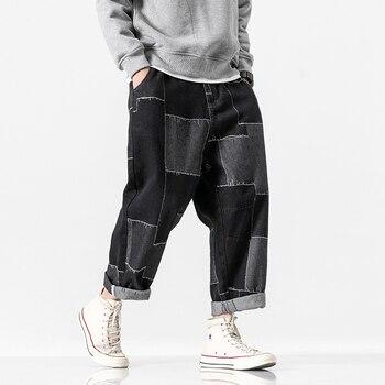 Men Patch Design Loose Casual Denim Ankle Length wide leg Harem Pant Male Japan Streetwear Hip Hop Jeans Trousers фото