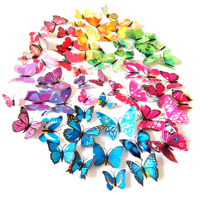 3D Stereo Simulation Butterfly Wall Stickers Refrigerator Wedding Decoration Brooch Hair Adhesive Paper PVC Simulation Animal