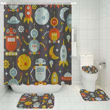3/4 шт маленький робот Душ наборы штор 3d печать ковер Туалет