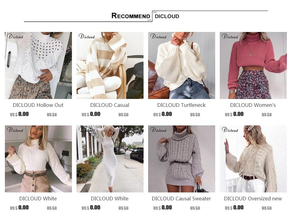 DICLOUD Turtleneck Oversized White Sweater Women Autumn 2019 Long Sleeve Pullover Knitted Jumper Winter Jersey Woman 13