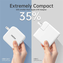 USB C Charger for MacBook Pro/Air 65W 2-Port PD Charger GaN Tech PD 3.0 Foldable Type C Wall Charger Adapter for iPhone 11 Pro