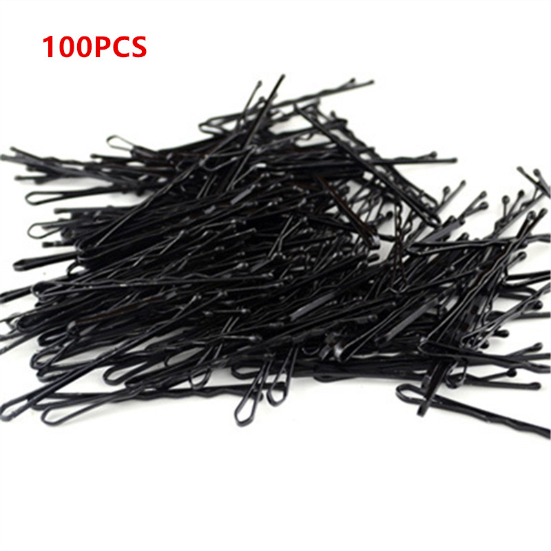 100PCS Hair Clips Hairpins Wedding Alloy Bobby Pins Barrette Hairpins Hair Accessories Black Side Wire Word Folder Styling Tools