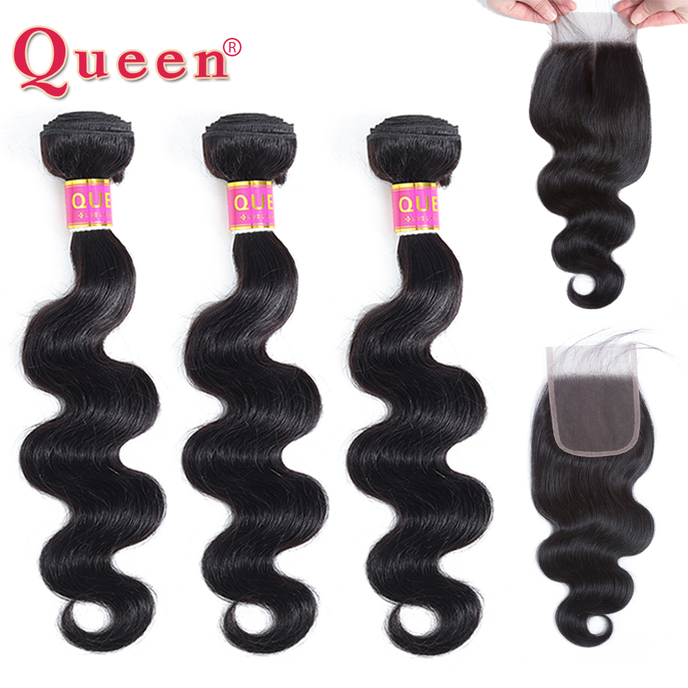 Queen Hair Products Peruvian Body Wave Bundles With Closure Remy 3 Bundles Human Hair With Closure Baby Hair Weave Extension