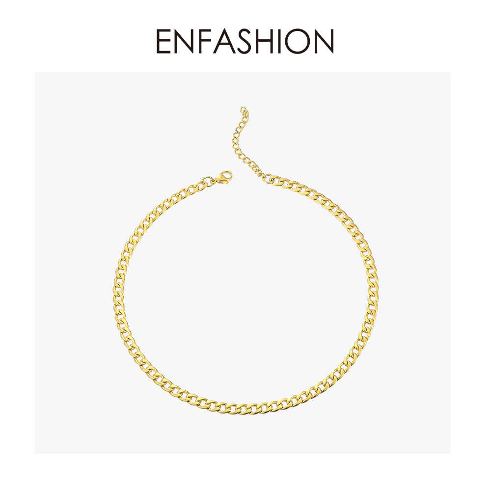 ENFASHION Link Chain Choker Necklace Women Accessories Stainless Steel Gold Color Statement Men Necklaces Jewelry Gifts P193021