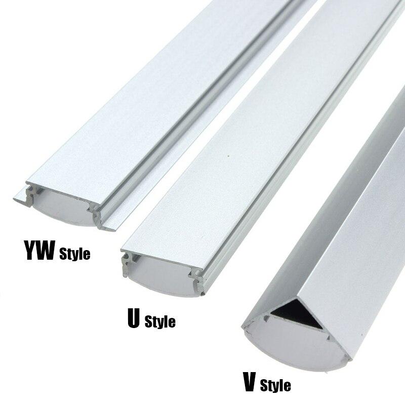 30/45/50cm U/V/YW Style Shaped LED Bar Lights Aluminum Channel Holder Milk Cover End Up For LED Strip Light Accessories