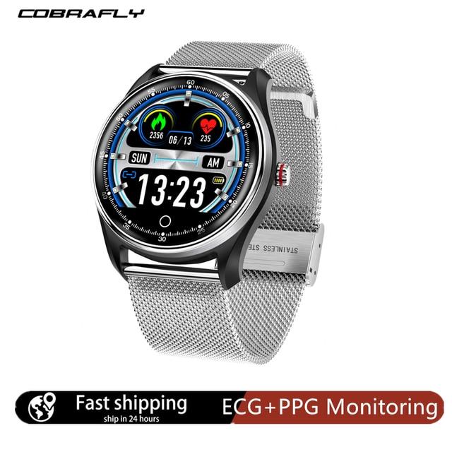 Cobrafly MX9 akıllı saat erkek spor ekg + PPG HRV kalp hızı kan basıncı izleme IP68 su geçirmez bilezik Android IOS için