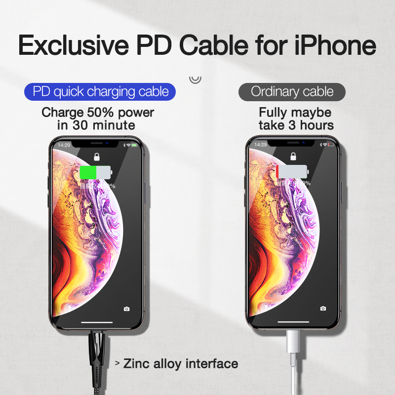 CAFELE USB C to for Lightning Cable 18W Quick Charging Syncing Cord Compatible PD Cable for iPhone X XS XR XI XS MAX 8 8 Plus in Mobile Phone Cables from Cellphones Telecommunications
