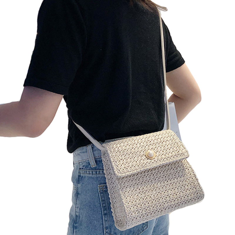 Weaving Crossbody Bags For Women Summer Beach Bag Ladies Shoulder Messenger Hand Bag Female Travel Hand Bag(Beige)