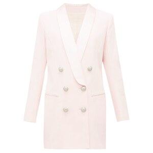 Image 1 - Alta qualidade mais novo 2020 designer elegante blazer feminino metal leão botões xale colarinho longo blazer jaqueta