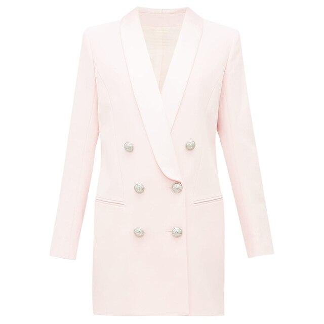 Alta qualidade mais novo 2020 designer elegante blazer feminino metal leão botões xale colarinho longo blazer jaqueta