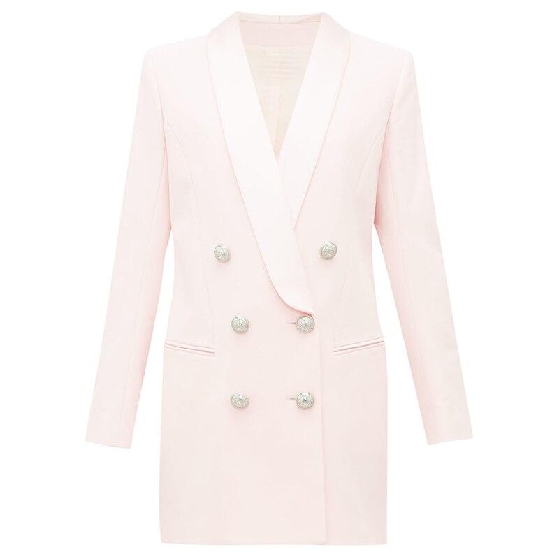 HIGH QUALITY Newest 2019 Stylish Designer Blazer Women's Metal Lion Buttons Shawl Collar Long Blazer Jacket
