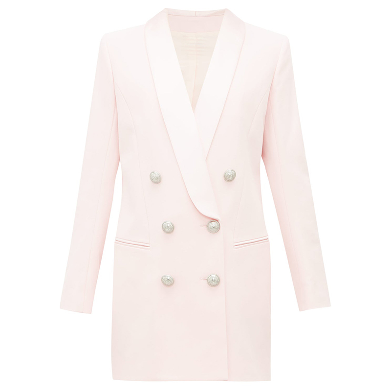 HIGH QUALITY Newest 2020 Stylish Designer Blazer Womens Metal  Lion Buttons Shawl Collar Long Blazer JacketBlazers