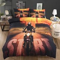 Montanha fora de estrada da motocicleta impressão conjunto de cama 2/3 peças todo o tamanho capa de edredão com fronhas